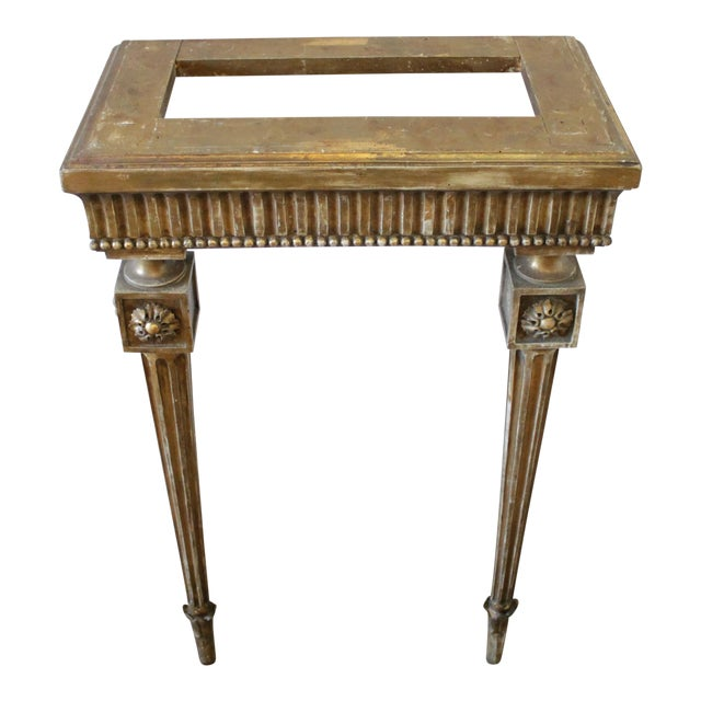 20th Century Louis XVI Style Petite Giltwood Wall Console Table With Stone Top For Sale