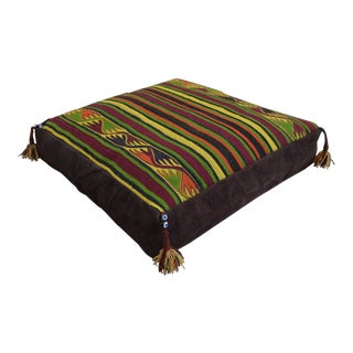 Handmade Wool Turkish Floor Pillow Cover For Sale