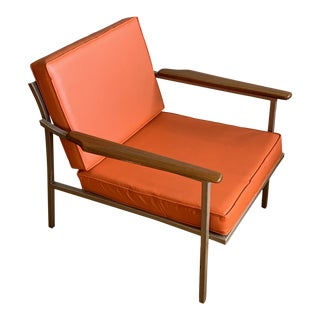 Pair of Vintage Orange Mid Century Metal and Wood Lounge Chairs For Sale