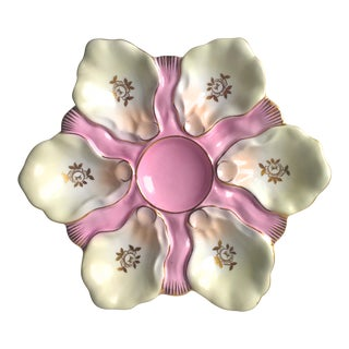 Antique Pink & Gilt Oyster Plate