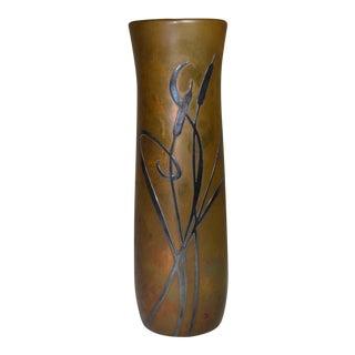 Vintage Signed Arts & Crafts Silver Crest Bronze Vase