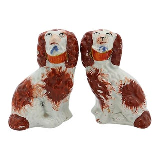 Antique Mini English Staffordshire Dogs w/Baskets - A Pair