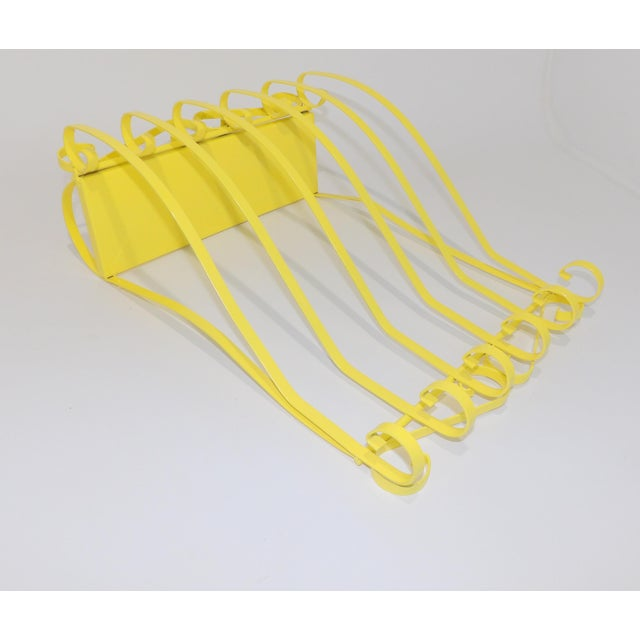 Antique Electric Yellow Wrought Iron Patio Shelf For Sale - Image 9 of 11