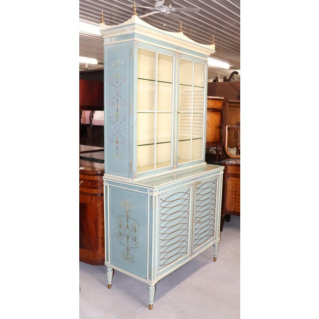 Early 20th Century English Regency Style Paint Decorated China Cabinet For Sale - Image 5 of 13