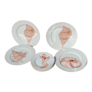 Vintage Fitz & Floyd Coquille, Seashell Plates - Set of 8 For Sale