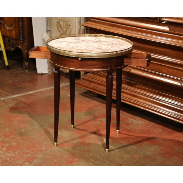 Early 20th Century French Louis XVI Round Bouillotte Table with Marble Top - Image 3 of 10