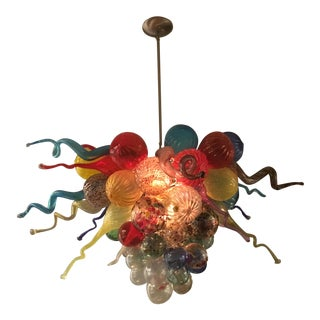Colorful Hand Blown Chihuly Style Glass Chandelier For Sale