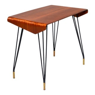 Italian Mid Century Bent Wood Table With Iron Legs and Brass Feet For Sale