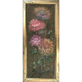 Antique Oil Painting of Chrysanthemums Aesthetic Period Frame For Sale