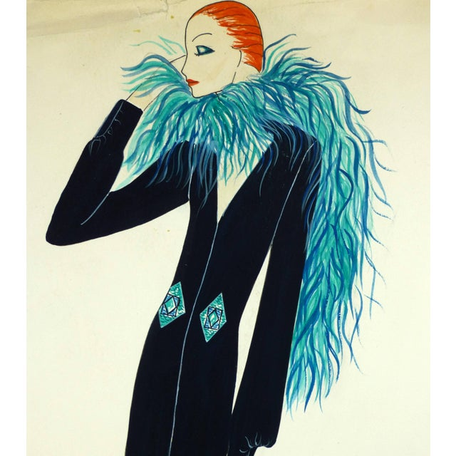 Woman With Blue Boa For Sale - Image 4 of 6