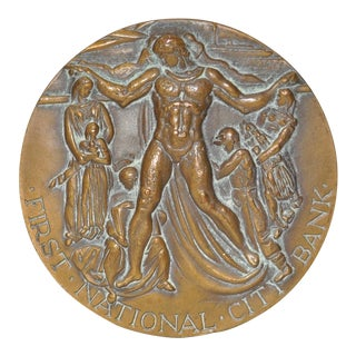 First National Bank New York 150 Year Commemorative Bronze c.1962 For Sale