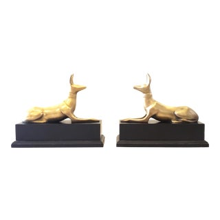Art Deco Egyptian Anubis Dogs Brass Sculptures on Base - a Pair For Sale