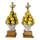 Image of Pair Italian Lemon Topiary Lamps Gilded Base, Newly Rewired For Sale