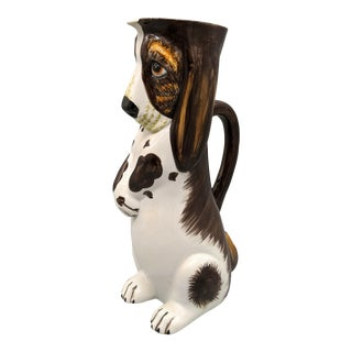 Vintage Italian Bassett Hound Dog Pitcher For Sale