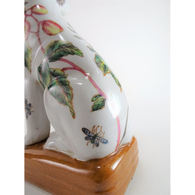 Chinoserie Porcelain Dog Statue For Sale - Image 9 of 12