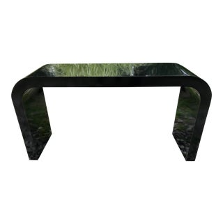 Vintage Black Lacquer Console Table Waterfall Style
