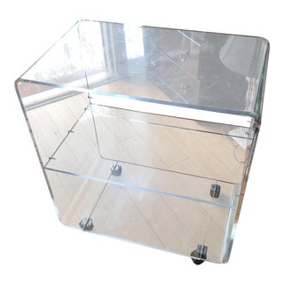 Rolling Display Cabinet Lucite Bar Cart For Sale