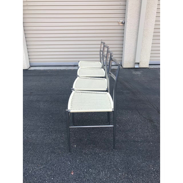 Italian 1960s Vintage Gio Ponti Chrome Superleggera Chairs - Set of 4 For Sale - Image 3 of 13