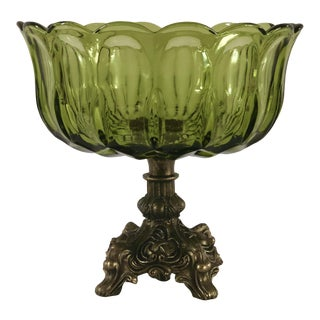 Vintage Footed Green Glass and Marble Tulip Candy Bowl For Sale