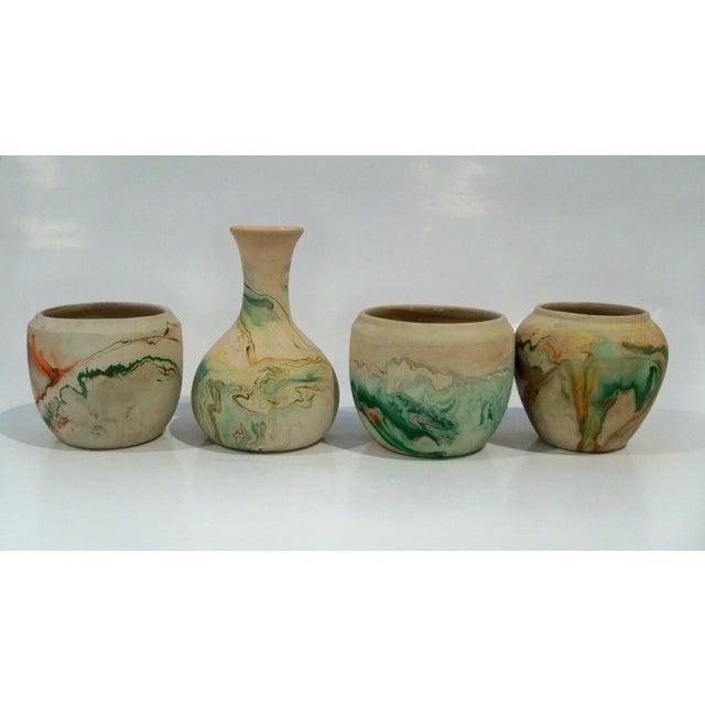 Ceramic Vintage Roadside Nemadji Pottery in Orange & Green - Set of 4 For Sale - Image 7 of 8