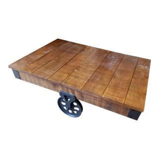 Industrial Mill Cart Oak Coffee Table For Sale