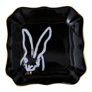 Black Bunny Portrait Plate With Gold, Hunt Slonem For Sale