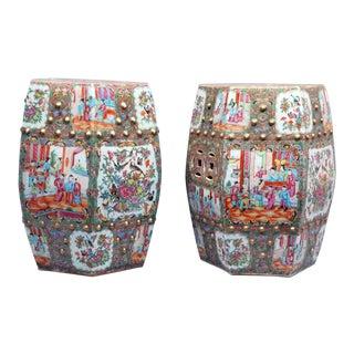 Chinese Export Porcelain Pair of Rose Medallion Garden Seats, Circa 1850-65.