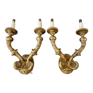 1990s Baroque Style Hand-Carved Giltwood Sconces With 2 Arms - a Pair For Sale