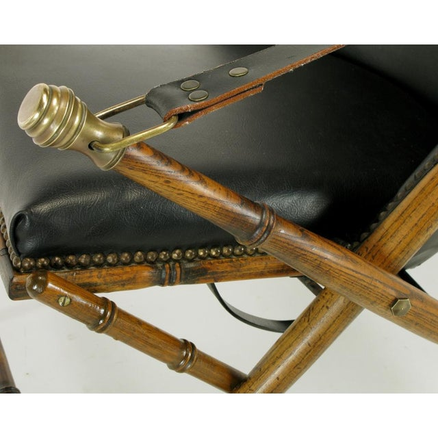 Italian Campaign Chair In Black Leather - Image 9 of 10
