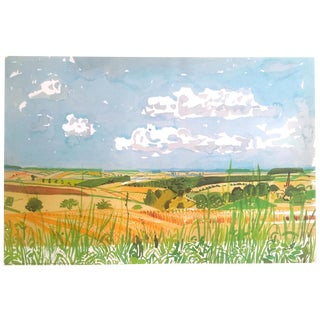 "David Hockney Fine Art Lithograph Print Midsummer : East Yorkshire Series "" Looking Towards Huggate Late Summer "" 2004 For Sale"