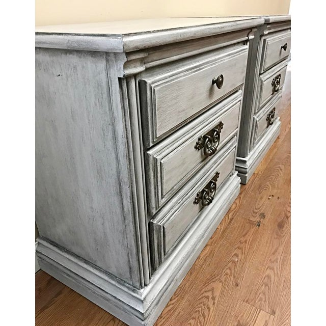 Light Grey Glazed Nightstands - Pair For Sale - Image 5 of 7