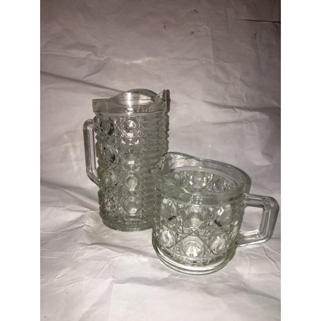 Antique Hobnail Glass Pitcher & Creamer - A Pair - Image 4 of 10