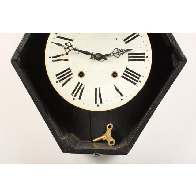 Mid 19th Century 19th-C. French Napoleon III Wall Clock For Sale - Image 5 of 6