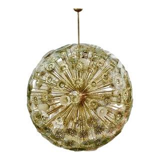 Contemporary Italian Custom Brass and Glass Flower Organic Sputnik Chandelier For Sale
