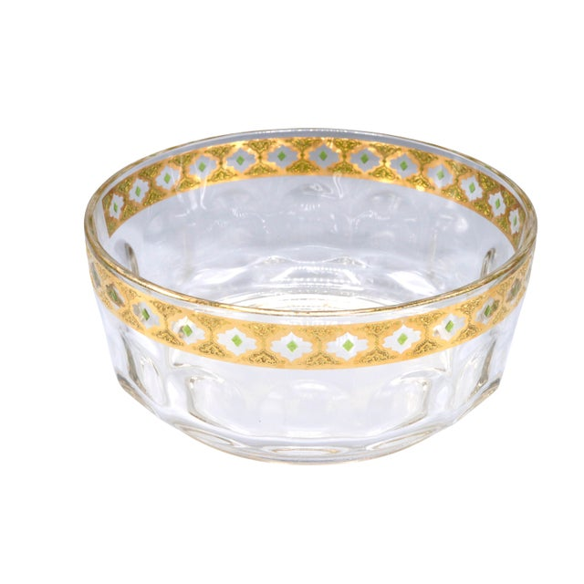 1970s French Crystal Glass Bowl with Gold Trim on Top For Sale - Image 9 of 9