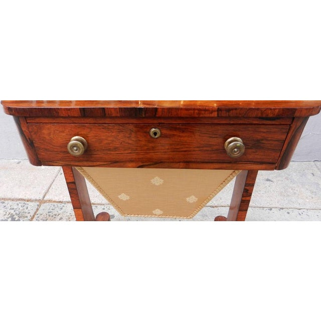 19th Century Antique English Rosewood Regency Basket Sewing Table For Sale - Image 7 of 11