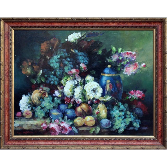 Beautiful still life German School oil painting, abundant with color and texture in a variety of fruit and flowers. A full...