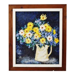 Vintage Rustic Framed Floral Still Life Impasto Oil on Board - Artist Signed For Sale
