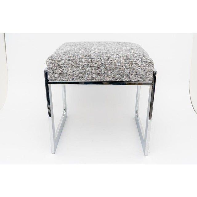 Milo Baughman Mid-Century Flat-Bar Nickel Plated Benches - a Pair For Sale In West Palm - Image 6 of 11