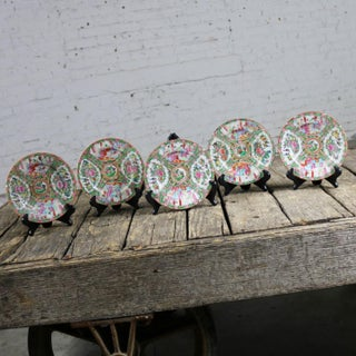 Antique Chinese Qing Rose Medallion Porcelain 7.25 Inch Plates Set of 5 Preview