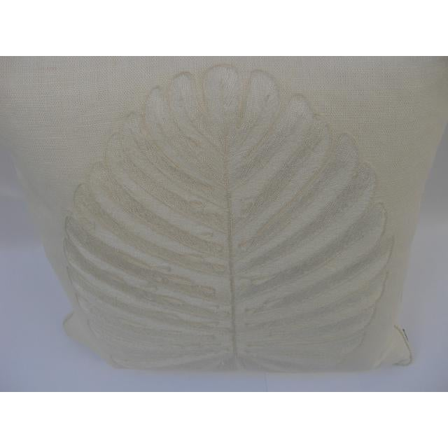 Belgian Linen Hand Embroidered Single Leaf Pillows By