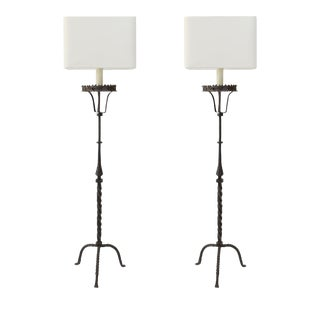Two Tall Forged Iron Floor Lamps For Sale
