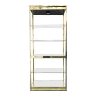 Brass and Glass Lighted Étagère For Sale