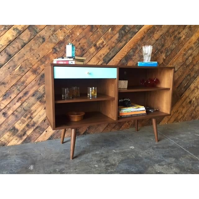 Custom Blue Drawer Credenza For Sale - Image 4 of 5