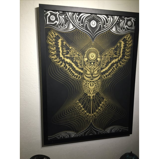 """Owlage"" Original Swarovski Encrusted Painting by Chris Saunders For Sale - Image 10 of 11"
