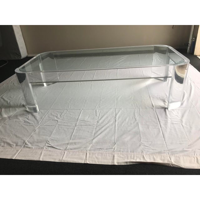 1970s Vintage Steve Chase Style Lucite & Glass Coffee Table For Sale In Dallas - Image 6 of 13