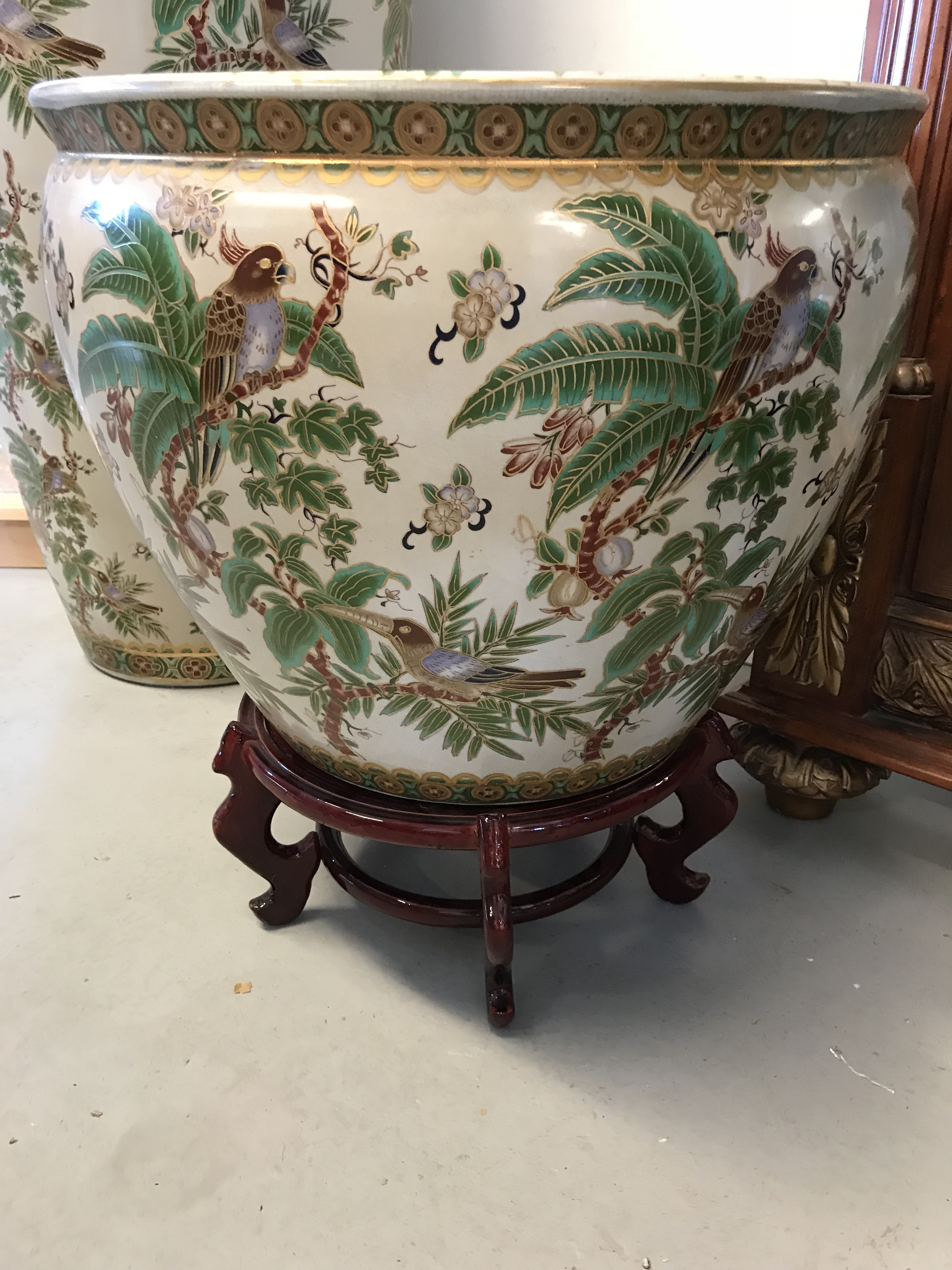 Asian Fish Motif Bowl With Hand Painted Birds In Door Or Garden Use