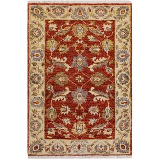 Contemporary Ziegler Kafkaz Stegall Red/Ivory Wool Rug - 1′11″ × 2′11″ For Sale