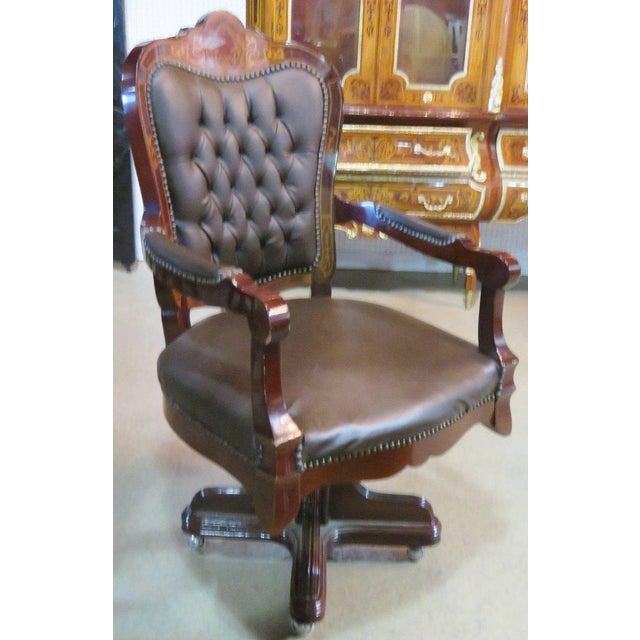 Brown Three-Piece Italian Style Inlaid Figural Office Set For Sale - Image 8 of 11