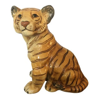 1950's Mid Century Marwal Chalk Ware Tiger Cub Statue For Sale